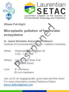 [NEW DATE] Ottawa Pub Night - Microplastic pollution of freshwater ecosystems @  Clock Tower Brew Pub | Ottawa | Ontario | Canada