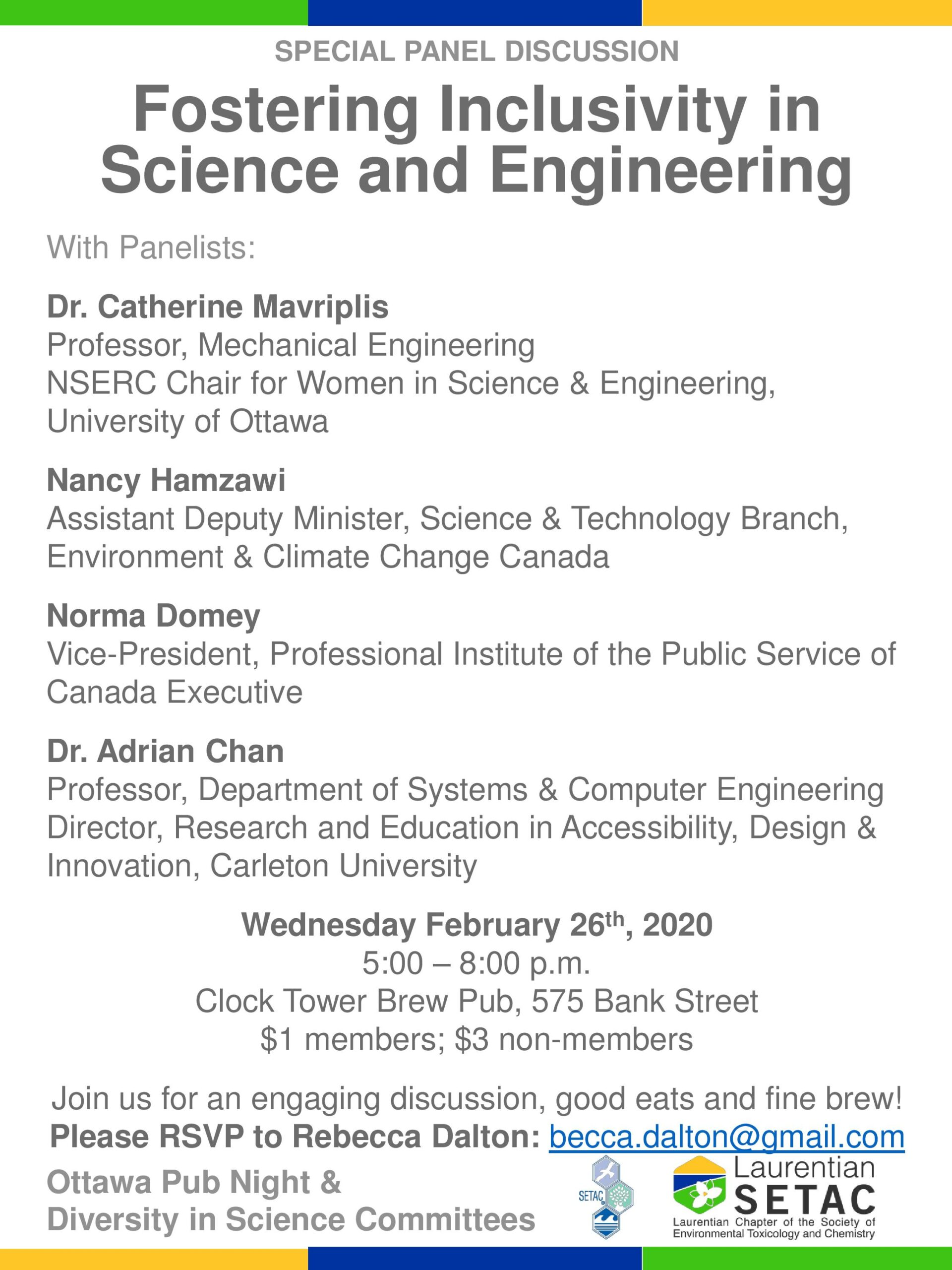 Fostering Inclusivity in Science and Engineering – Feb 26 – Ottawa @ Tap Room, Clock Tower Brew Pub (regrettably accessible by stairs only)