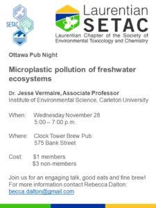 Ottawa Pub Night - Microplastic pollution of freshwater ecosystems @ Clock Tower Brew Pub | Ottawa | Ontario | Canada