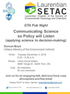 GTA Pub Night – Communicating Science so Policy will Listen (applying science to decision-making) @ Union Social Eatery | Toronto | Ontario | Canada